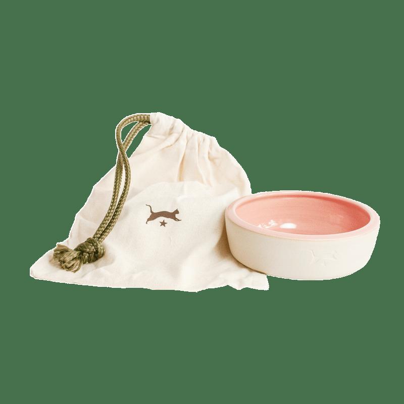 Keramik-Katzennapf - Natur / Rosa