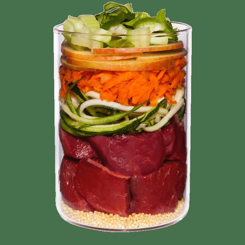 Lamm mit Zucchini, Hirse und Dill