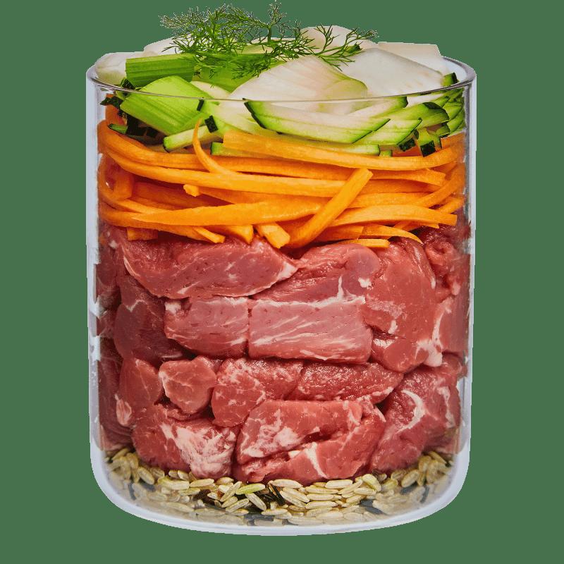 Agnello con zucchino, finocchio e yogurt magro