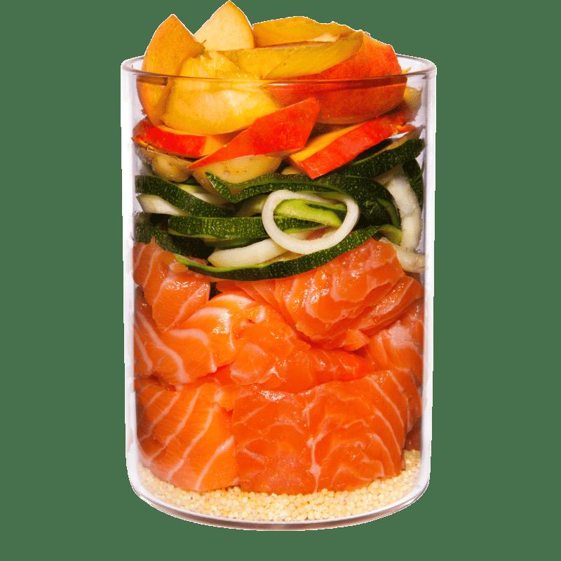 Lachs mit Hirse, Pfirsich und Kräutern