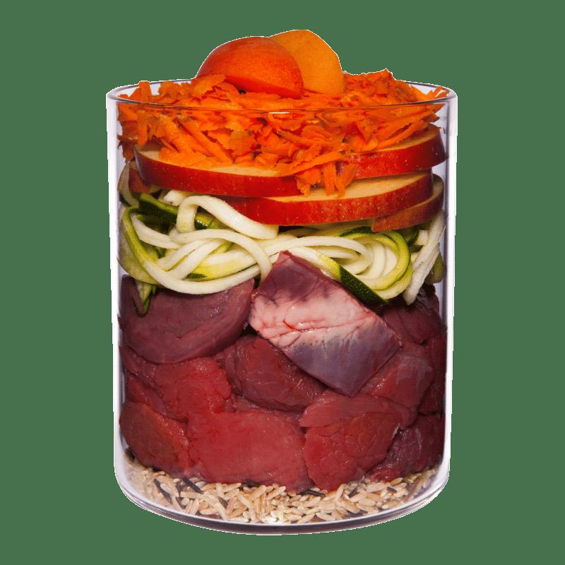 Bœuf avec carotte, pomme et riz naturel