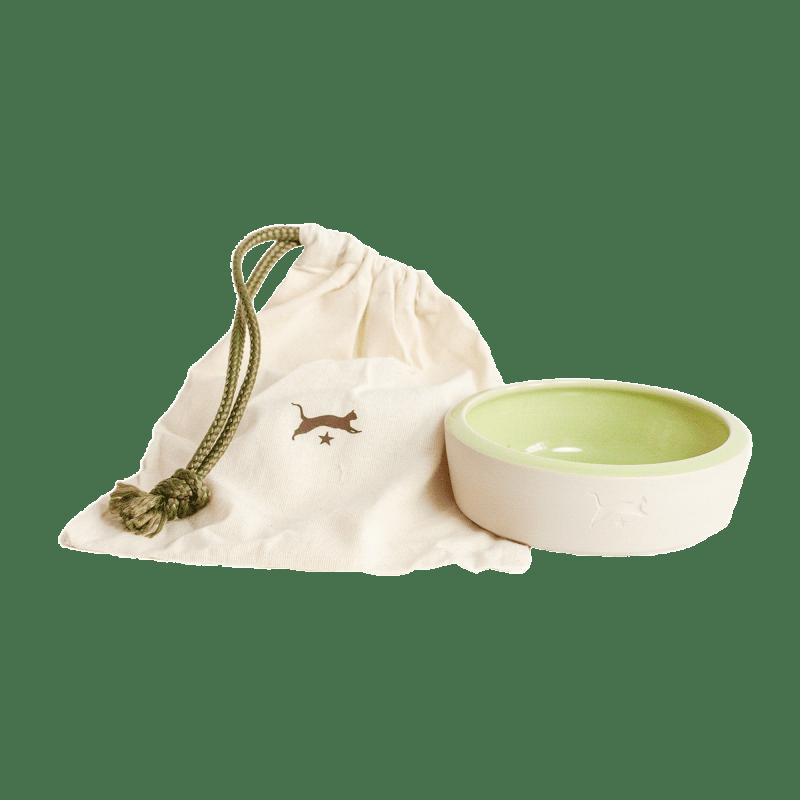Ceramic cat bowl - natural colour / light green