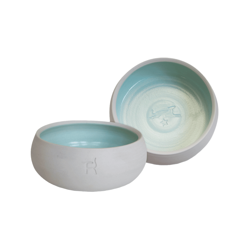 Ceramic dog bowl – natural colour / mint