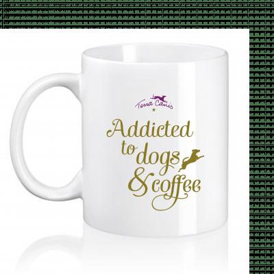 "Mug ""addicted to dogs & coffee"""