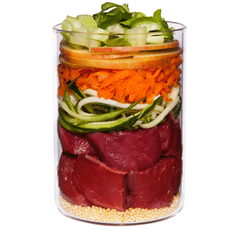 Lamb with courgette, millet and dill