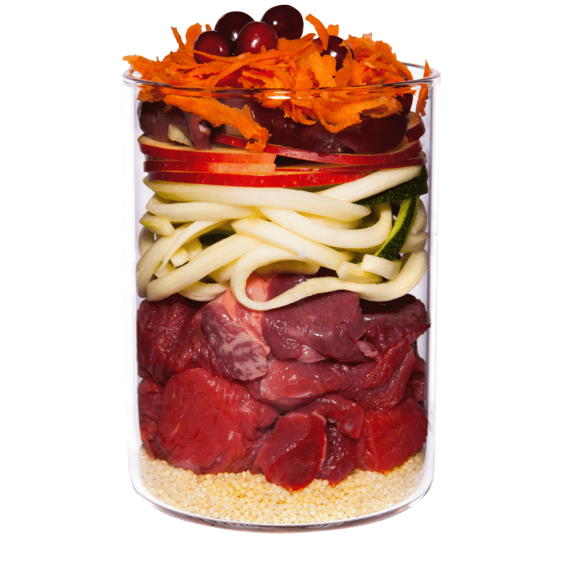 Beef with apple, carrot and rose hip