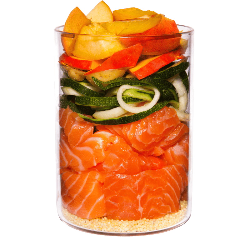 Salmon with millet, peach and herbs
