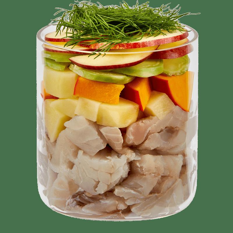 Hering mit Kartoffel, Apfel und Dill